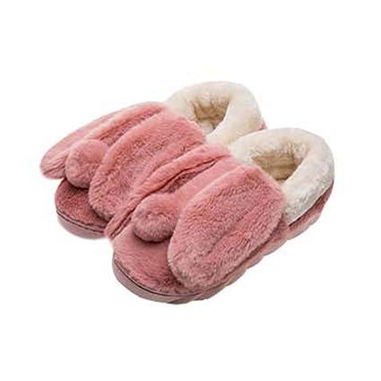 Lindo conejo de dibujos animados de zapatillas de invierno invierno cálido zapatillas de interior para las
