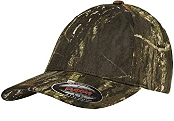 eee4dfc7 Flexfit Fitted Low Profile Mossy Oak Camo Cotton Hat with Curved ...