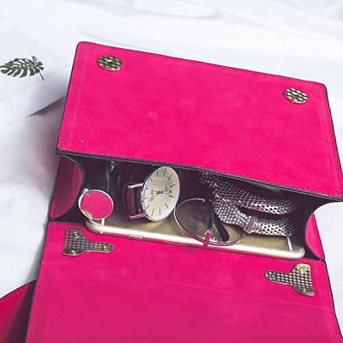 Suede PU Scrub Pequeño Cuadrado Bolso Personalidad Bordado Bolsos Retro Amplio Hombro Correa Hombro Messenger Bag Red