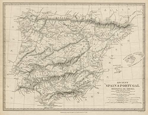 Hipania Iberia. Antiguo Portugal y España. Nombres Romanos y Carreteras. SDUK 1844 - Mapa Antiguo Antiguo Vintage - Mapas Impresos de Iberia: Amazon.es: Hogar