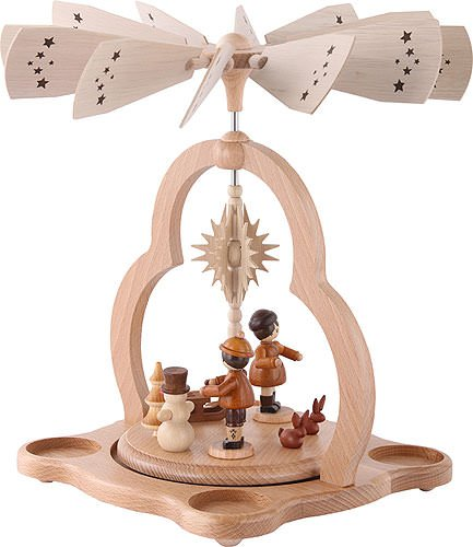 1-tier German Christmas Pyramid for tea candles winter children - 28cm / 11inch - Zeidler Holzkunst