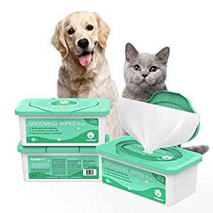 PUPMATE Pet Wipes for Dogs & Cats, Extra Moist & Thick Grooming Puppy Wipes with 100 Deodorizing and Hypoallergenic Fresh Counts, Aloe Vera/Nature (1 Pack) 112