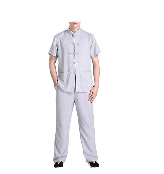 CHLXI Traje de algodón Chino Tang Hombres Pantalones de ...