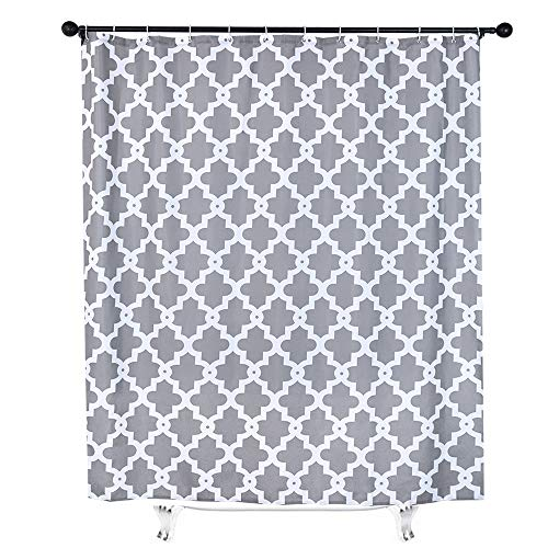 White and Grey Fabric Shower Curtain for Bathroom Decor Moroccan Trellis Gray Fabric Shower Curtain Mildew Resistant with 12 Hooks 71x71 ()