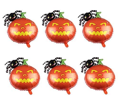 6pcs Halloween Foil Balloons Pumpkin Design Balloons Mylar Balloon for Halloween Party Favors Supplies Decoration