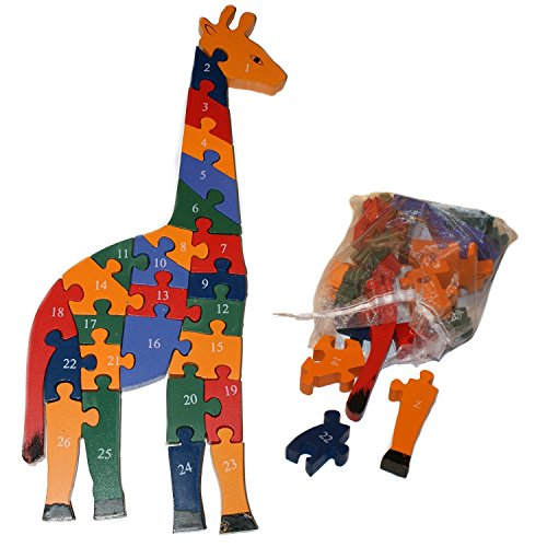 Wooden Giraffe Jigsaw Puzzle - Alphabet and Numbers