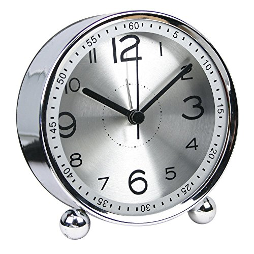 Precision Quartz Movement - Harryup Non Ticking Alarm Clock, Battery Powered Bedside Clock Silent Simple to Set Travel Clocks with Nightlight,Precision Quartz Movement(Silver)