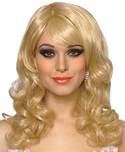 Blonde Bad Girl Wig (OvedcRay Womens Lolita Party Girl Long Wavy Curly Costume Wig W/ Bangs Blue Purple Pink)