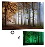 LightFairy Glow in the Dark Canvas Painting - Stretched and Framed Giclee Autumn Forest Wall Art Print for Master Bedroom Rustic Living Room Decor - Glowing Minimum 6 Hours - 36 x 24 Inch