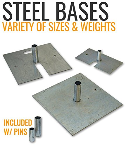 Steel Base Plate w/Pin (For Uprights) Pipe and Drape (18x18'' 18lb 2'' Pin)