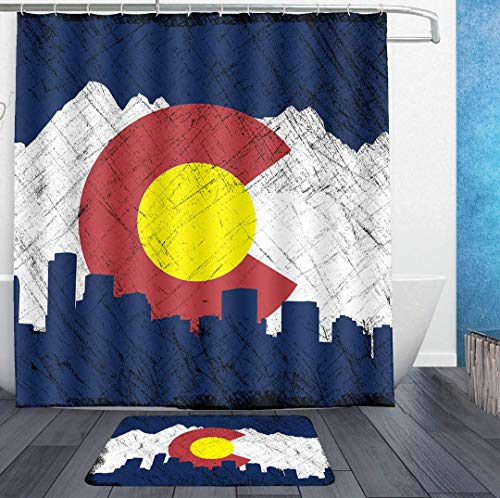 SWEET TANG Shower Curtains with Hooks and Bath Rug mat - Flag of Colorado in Vintage Retro Style Bath Curtain Liner - Waterproof Polyester Fabric Bathroom Decor Set - 72x72/18x36