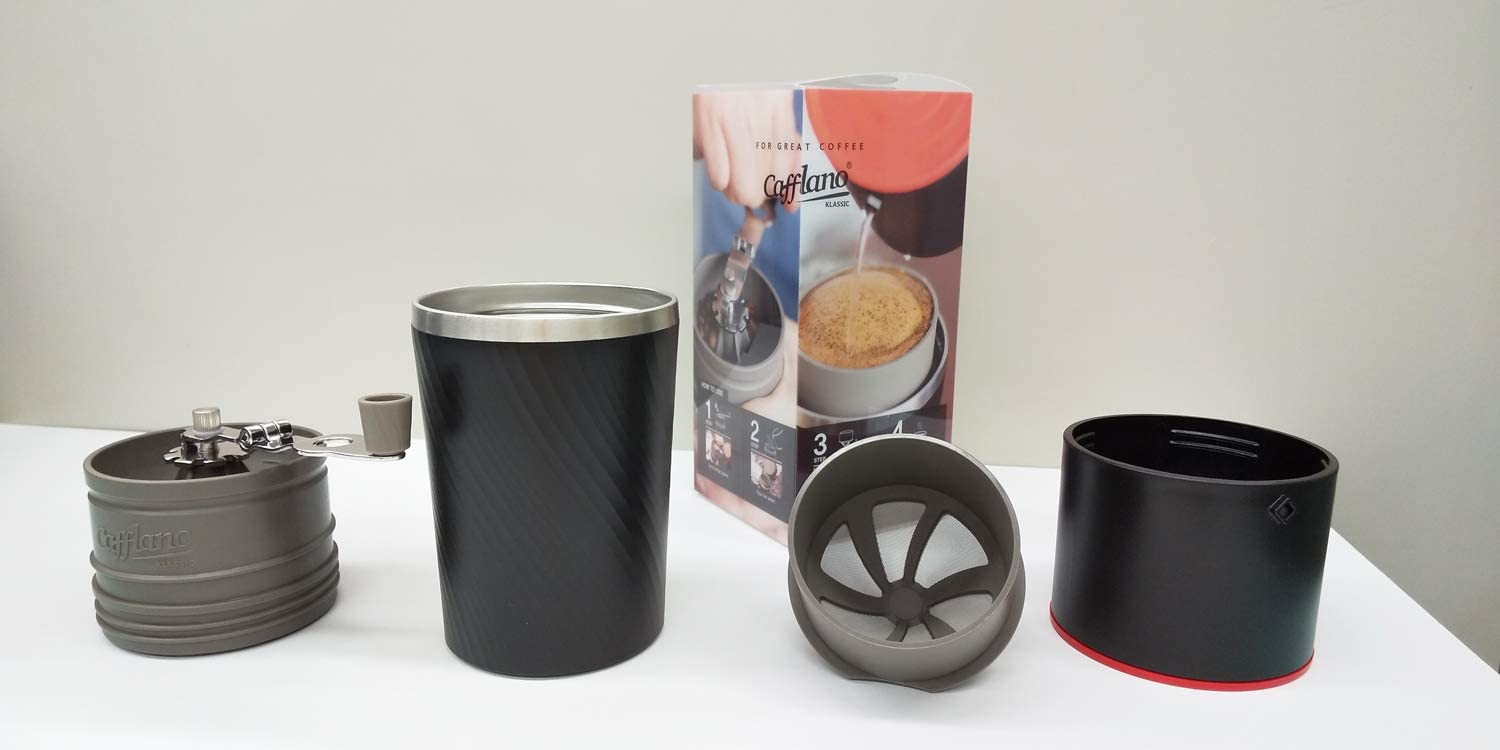 NEW CAFFLANO KLASSIC POUR OVER COFFEE MAKER Portable Drip Mill Grinder Tumbler