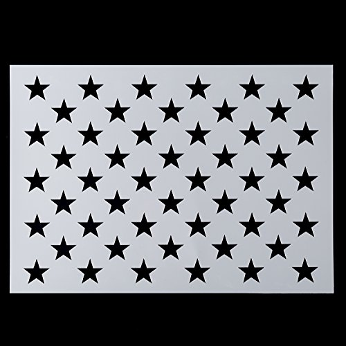 Painting Shapes Wall (American Flag 50 Star Stencil for Painting on Wood, Paper, Fabric, Glass, and Wall Art)