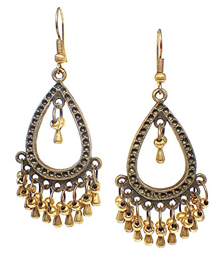 Style Brass Beads (Bijoux De Ja Bronze and Brass Beads Moroccan Style Drop Dangling Earrings (Chandelier))