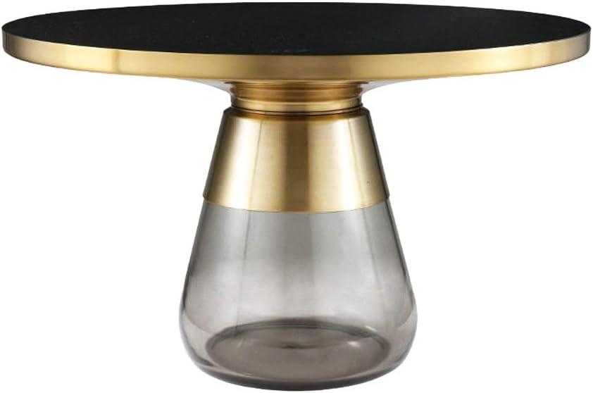 Beste Keuze ZRRtables glazen tafel salontafel modern woonkamertafel ronde bijzettafel mini salontafel met messing metalen frame voor thuis, woonkamer, eetkamer A sj0aeGn