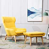 Yellow Accent Chair Irene House Contemporary Velvet Fabric Height Back Accent Chair,Living Room,Bedroom Arm Chair (Yellow with Ottoman)