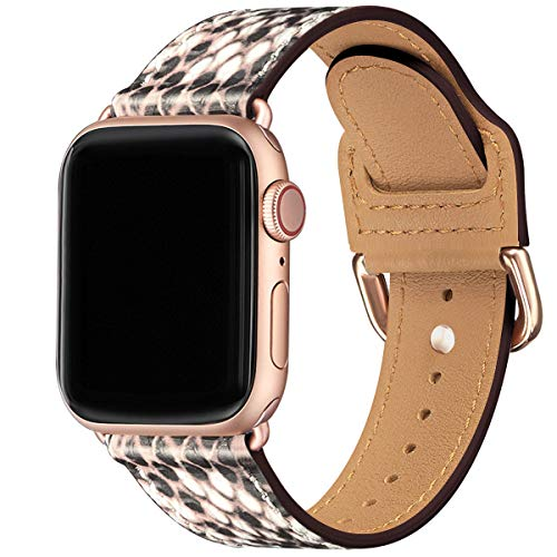 POWER PRIMACY Bands Compatible with Apple Watch Band 38mm 40mm 42mm 44mm,Soft Pattern Leather Smart Watch Band Compatible for Men Women iWatch Series 6/5/4/3,SE