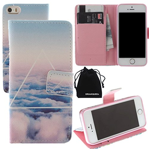 For Apple iPhone 5 5S, PU Leather Wallet Case Flip Cover by DRUnKQUEEn TM with Credit / Business / ID Card Cash Holder