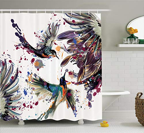 Hummingbirds Decorations Shower Curtain Set, Art with Lily Flowers Birds and Color Splashes in Watercolor Painting Style, Bathroom Accessories, 75 Inches Long, Orange Blue