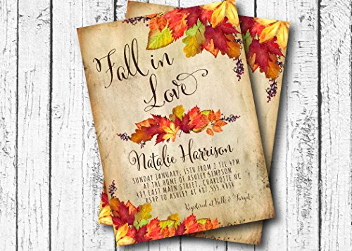 Invitation Wedding Leaves Fall (Fall in Love Bridal Shower, Autumn Bridal Shower, Fall Bridal Shower, Invitation - Autumn Shower Invitations - Rustic Bridal Shower Invitation - Wedding Invitation - 5x7)