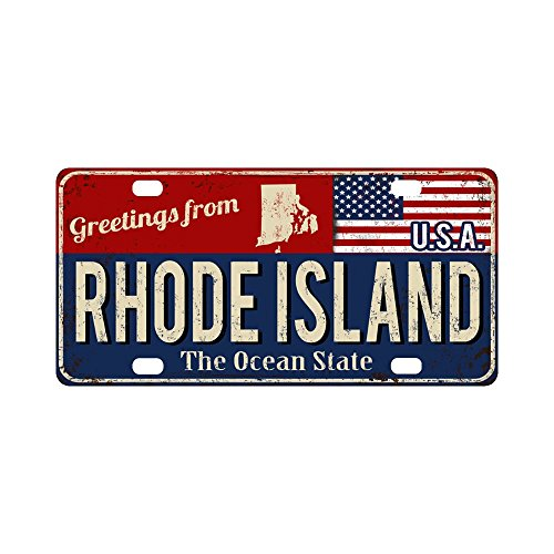 (InterestPrint Greetings from Rhode Island The Ocean State with American Flag Metal Car License Plate Auto Tag for Woman Man, 12 x 6 Inch)