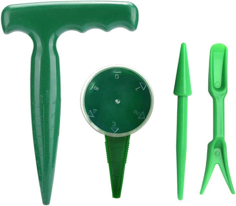cozyou 4 Pack Adjustable Hand Hold Sowing Seeds Dispenser, Seedlings Dibber and Widger Hole Puncher Garden Hand Tool Sets