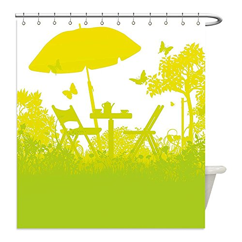 Liguo88 Custom Waterproof Bathroom Shower Curtain Polyester Garden Two Chairs with Umbrella in the Garden Trees and Grass Coffee Time Print Light Green Lime Green Decorative bathroom