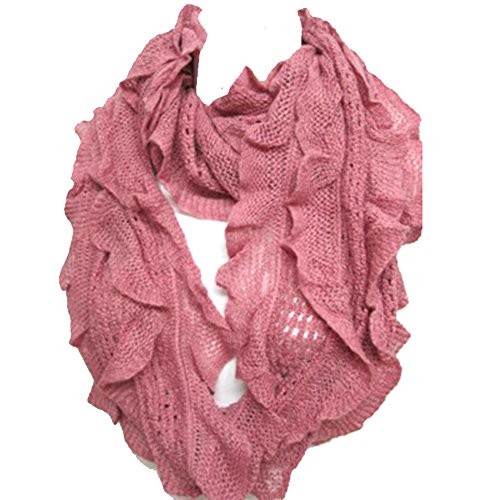 Silver Fever Elegant Soft Woven Infinity Loop Figure Eight Endless Scarf Wrap (Pink)
