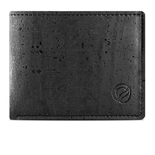 Corkor Cork Wallet for Men | Vegan Cruelty Free Non Leather | Bifold Cards Cash Black Color