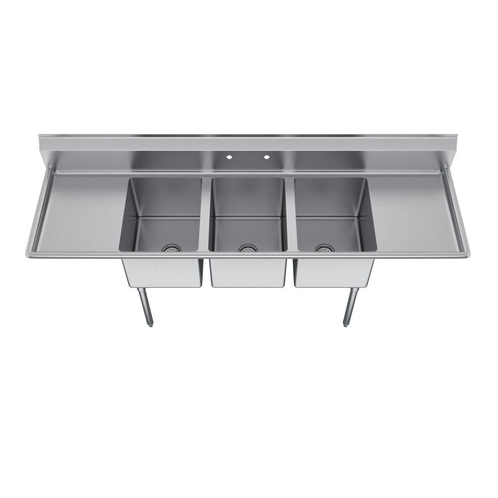 Elkay Foodservice 3 Compartment Sink, 66''X19.75'' OA, 36'' Working Height, 10X14 Bowl, 10 Deep, 10.75'' Backsplash, Left & Right 16 Drainboards, 8'' On Center Faucet Hole, Galvinized Legs, Adjustable Feet, 16 Gauge 300 Series Stainless Steel, NSF Certified by Elkay (Image #3)