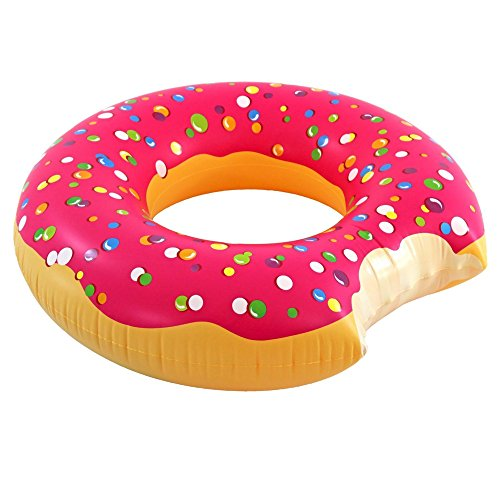 Play Platoon Jumbo Donut Pool Float - Gigantic Pink Donut Inflatable - Fun for The Beach or Pool, Includes Patch Kit