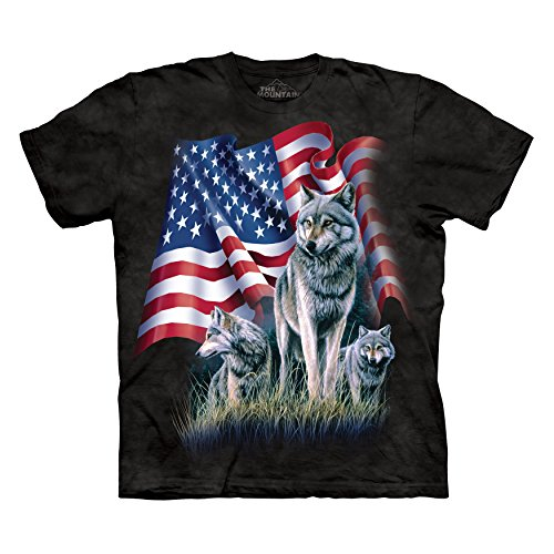 The Mountain Men's Wolf Flag T-Shirt Black L