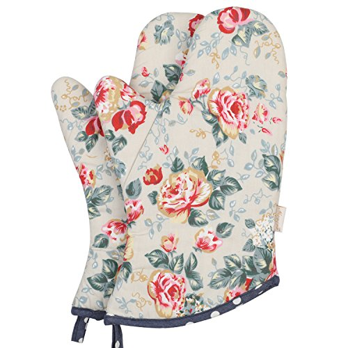 Blooms Floral (Neoviva Cotton Quilt Oven Mitt for Adult, Pack of 2, Floral Quarry Bloom)