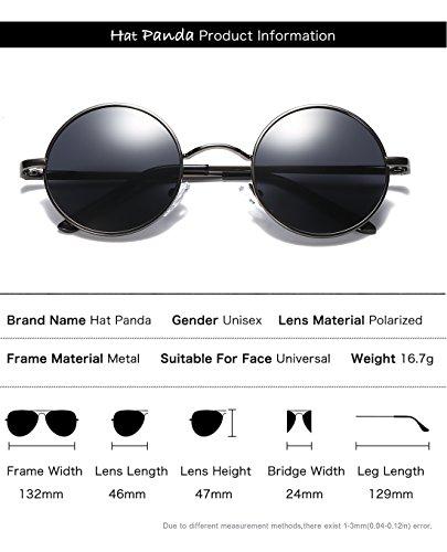 gafas Panda de redondo estilo Hat 47mm Plata Verde metálico círculo Steampunk Retro sol para inspirado polarizadas hombres 8dzFq