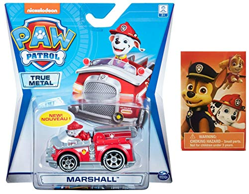Paw Patrol True Metal Marshall Fire Truck Diecast Vehicle with one Self-Inking Stamper Bundle (2 Items) (Best Marshall For Metal)