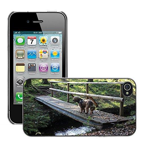 Bild Hart Handy Schwarz Schutz Case Cover Schale Etui // M00135409 Web Brücke Bach Wasserwald // Apple iPhone 4 4S 4G