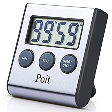 Poit Stainless Steel Digital Kitchen Timer with Magnetic Back and Retractable Stand