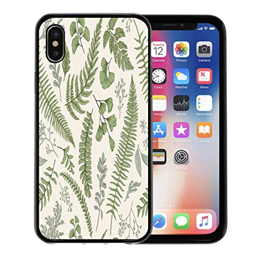 Emvency Phone Case for iPhone X Case Floral Pattern in Vintage Leaves and Herbs Botanical Boxwood Seeded Eucalyptus Fern Maidenhair for iPhone x Covers Case Protective Case (Floral Garden Maidenhair)