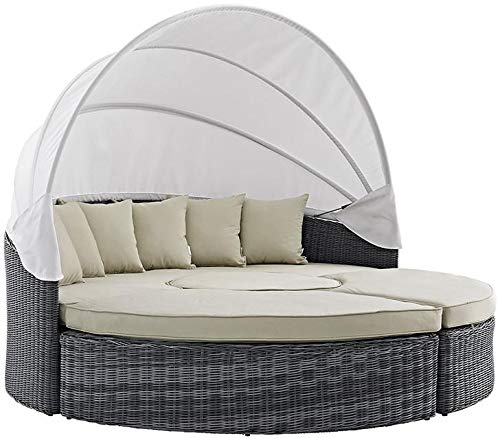 - Modway Summon Outdoor Patio Sectional Daybed with Canopy With Sunbrella Brand Antique Beige Canvas Cushions