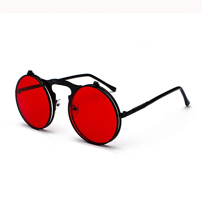 5ee61c0dfe2 Amazon.com  Retro Steam Punk Sunglasses Round Flip Up Metal Frame Glasses  Ocean Red Lens Steampunk Sun Glasses Women Men CC1060 C1 Gold red  Sports    ...
