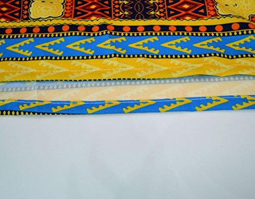 Monique Women African Style Floral Print Long Maxi Skirt High Waist Floor Length Skirts Dresses Longuettes for Ladies Yellow Orange L/XL by Monique (Image #9)