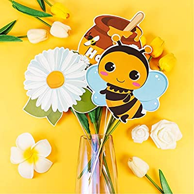 30 Pieces Bee Centerpieces Sticks Honey Bee Table Centerpieces Bee Cutouts Photo Props for Birthday Baby Shower Gender Reveal Party: Toys & Games