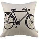 Decorative Pillow Cover - SIXSTARS Decorative Linen Cloth Pillow Cover Cushion Case Bicycle, 18