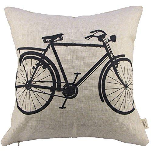 SIXSTARS Decorative Linen Cloth Pillow Cover Cushion Case - Bike Art