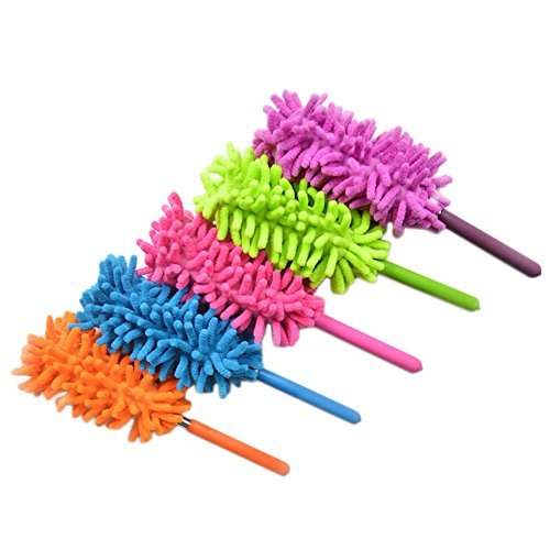 Wimem Extendable Microfiber Dusters | Washable Computer Dusters, Long Reach Ceiling Fan Dusters, Anti-Static Extend Dusters Kit | Green Eco-Friendly Cleaning Supplies (5 PC Retractable Dust Brush Set)