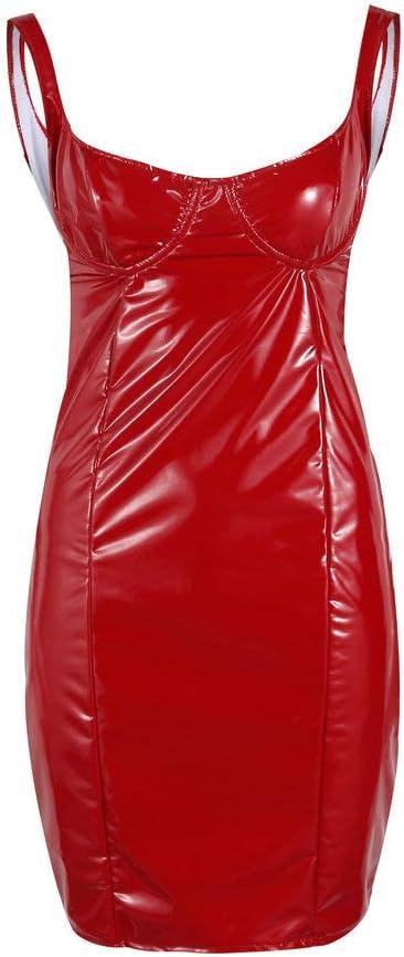 Femme PVC Brillant Cuir Mouillé Look Corset Robe Fermeture Vintage Club Fête