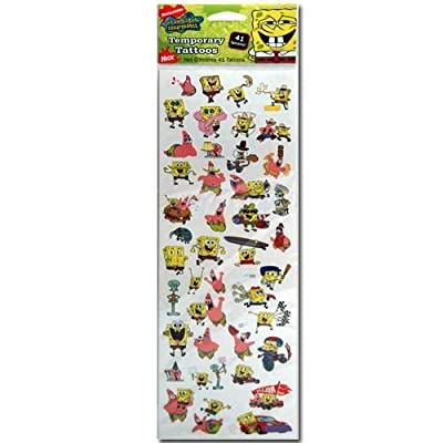 Nickelodeon SpongeBob Squarepants Temporary Tattoos Sheet of 40+: Toys & Games