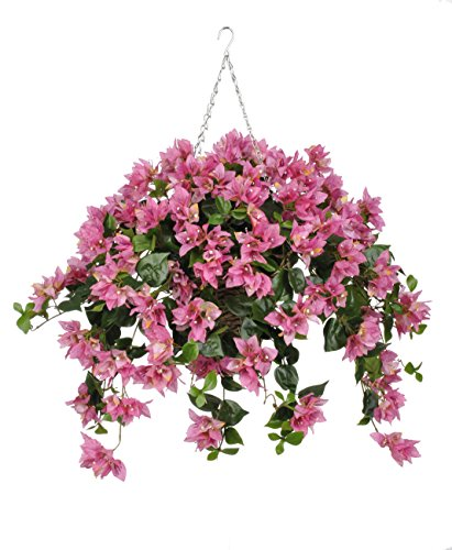 House of Silk Flowers Artificial Orchid Pink Bougainvillea in Square Hanging Basket