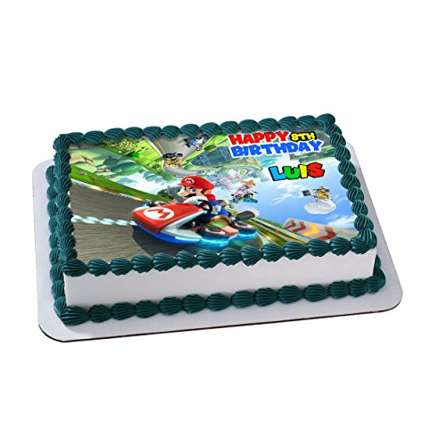 Mario Kart 8 Deluxe Edible Cake Image Personalized Icing Sugar Paper A4 Sheet Edible Frosting Photo Cake 1/4 ~ Best Quality Edible Image for cake by EdibleInkArt (Image #1)