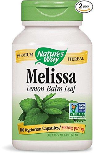 Nature's Way Melissa Lemon Balm, 500mg, 100 Capsules (Pack of 2)